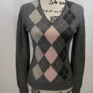 100% Cashmere Argyle V Neck Sweater Size Medium
